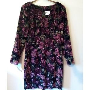 90s Vintage Concepts Body Con Velvet Floral Dress